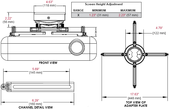 Technical Drawing of Peerless PRS-UNV PRS Projector Ceiling Mount