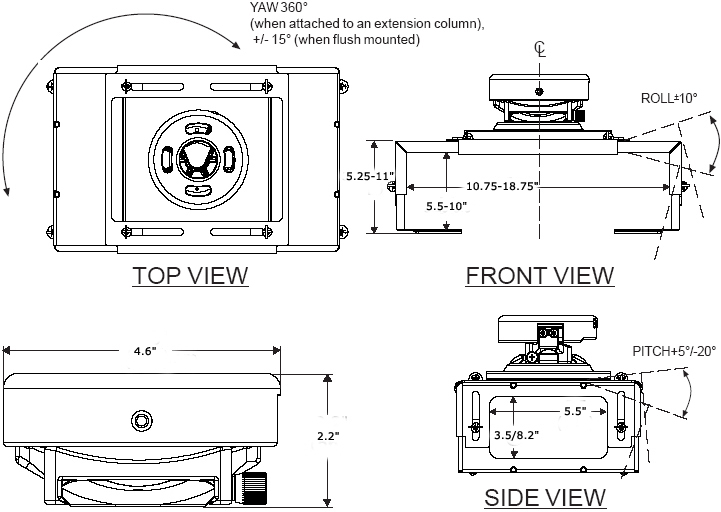 Technical Drawing of Peerless PRS45 Projector Mount with Large Clamp Style Adapter Plate