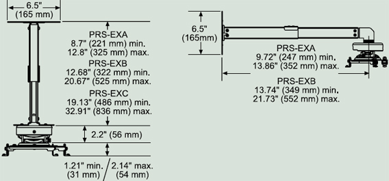 Dimensional Diagram for Peerless PRS-EXA Projector Ceiling or Wall Mount