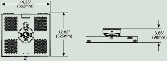 Dimensional Diagram for Peerless PSMU-PRS Projector Security Mount