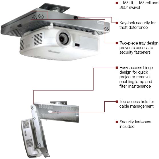 Peerless PSMUNV Dual layers Projector Security Mount
