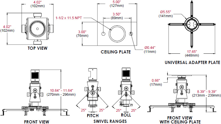 Technical Drawing for Peerless PAG-UNV-HD Arakno Heavy Duty Geared Projector Mount