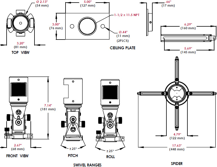 Technical Drawing for Peerless PAG-UNV Arakno Geared Projector Mount