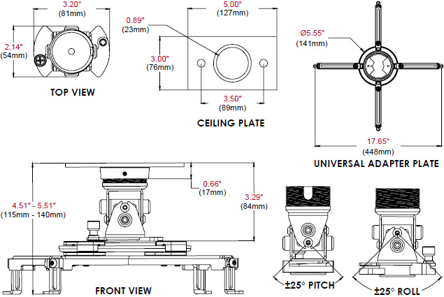 Technical Drawing for Peerless Arakno Geared Micro Projector Mount