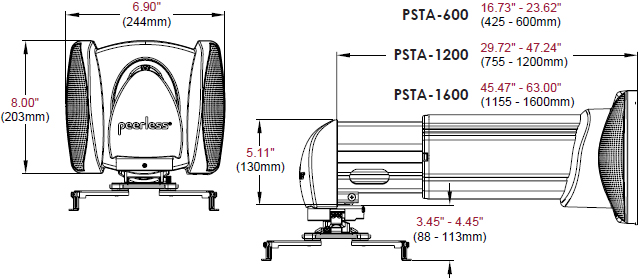 Technical Drawing for Peerless PSTA-1600 Short Throw Projector Mount Wall Arm
