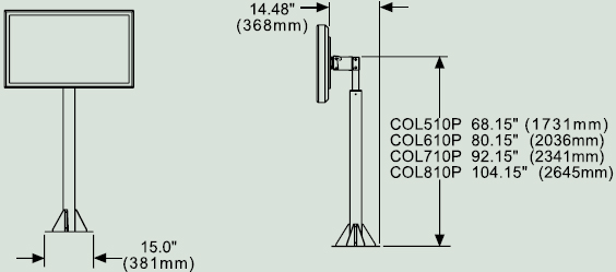 Dimensional Diagram for Peerless COL510P Floor Stand Pedestal Mount COL 510P