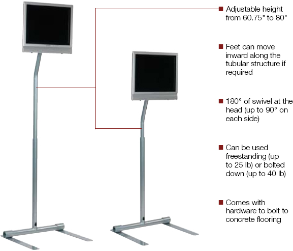 Peerless LCFS-100 LCD Pedestal Stand for 10 to 30 inch Flat Panel Screens weighing up to 40 lbs LCFS100