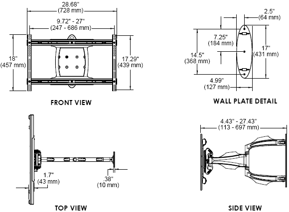 Technical Drawing for Peerless SA752PU or SA752PU-S Universal Articulating Wall Mount Arm