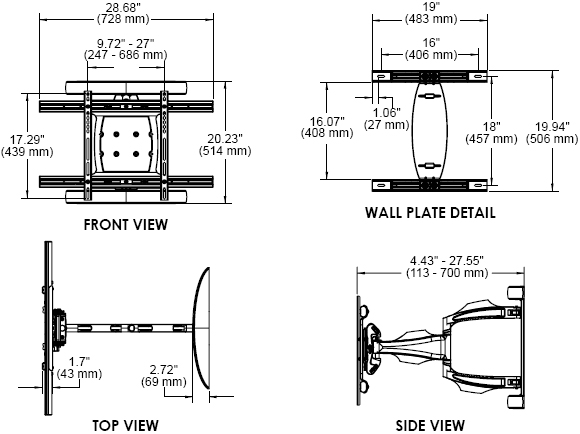 Technical Drawing for Peerless SA761PU or SA761PU-S Universal Articulating Wall Mount Arm