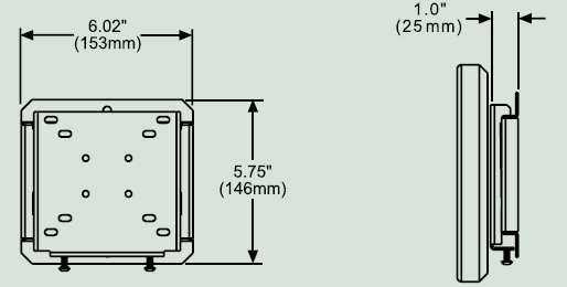 Dimensional Diagram for Peerless SF630 Universal Flat Wall Mount SF 630