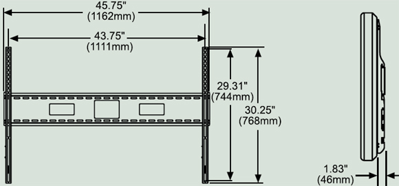 Dimensional Diagram for Peerless SF680 SmartMount Universal Flat Wall Mounts SF 680