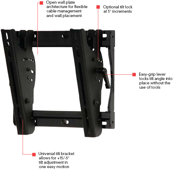 Peerless ST635 Smart Mount Universal Tilt Wall Mount for 13-37 inch LCD Screens ST-635