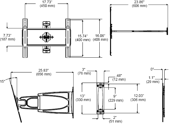 Technical Drawing for Peerless SUA645PU Slinline Articulating Wall Mount Arm
