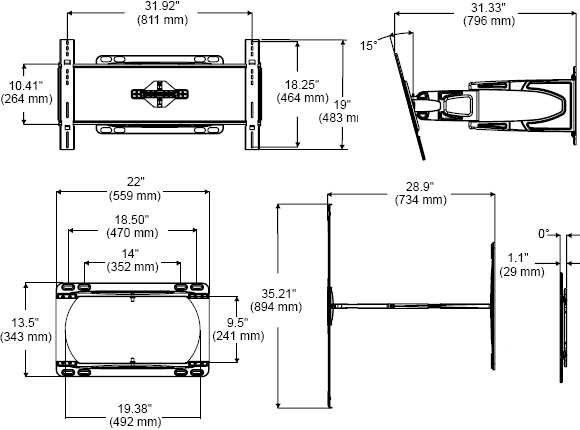 Technical Drawing for Peerless SUA650PU Slinline Articulating Wall Mount Arm