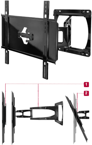 Peerless SUA650PU Slinline Articulating Wall Mount Arm