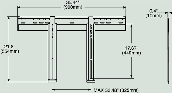Dimensional Diagram for Peerless SUF660P Ultra-Thin Flat Wall Mount