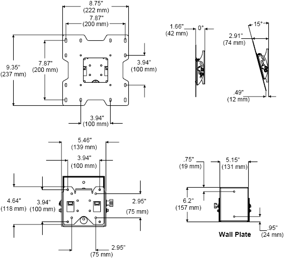 Technical Drawings for Peerless SUT632P Universal Ultra-thin Tilt Wall Mount for 22 to 40 inch Screens