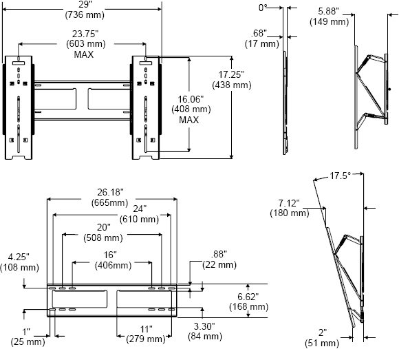 Technical Drawings for Peerless SUT645P Universal Ultra-thin Wall Mount