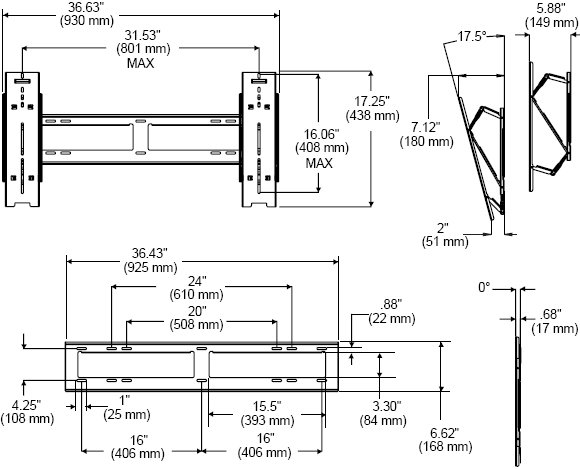 Technical Drawings for Peerless SUT660P Universal Ultra-thin Tilt Wall Mount