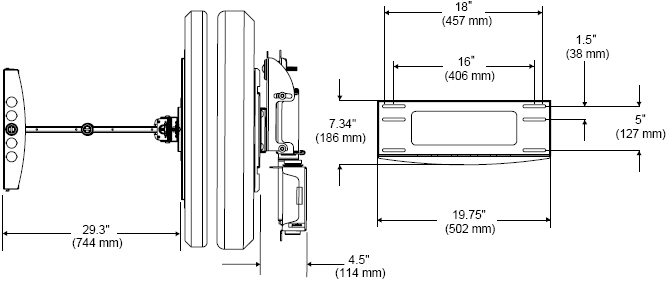 "Technical Drawing for Peerless PLA50 Articulating Wall Arm for 32-50"" Flat Panel Display"