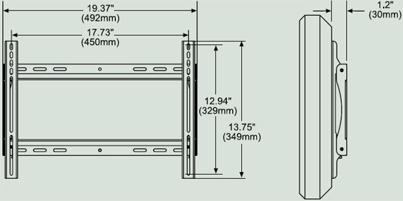 Dimensional Diagram for Peerless SF640 Universal Flat Wall Mount SF-640