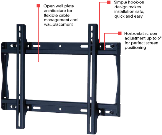 Peerless SF640 SmartMount Universal Flat Wall Mount for 23 - 46 inch LCD Screens SF-640