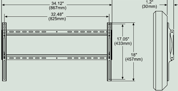 Dimensional Diagram for Peerless SF660 Universal Flat Wall Mounts SF 660