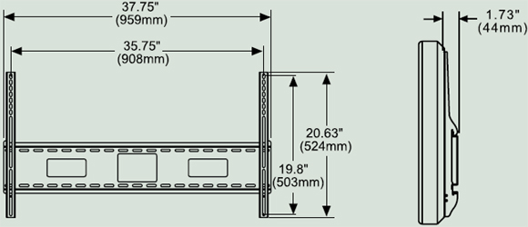 Dimensional Diagram for Peerless SF670 SmartMount Universal Flat Wall Mounts