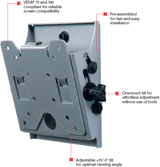 Peerless ST630 Smart Mount Universal Tilt Wall Mount for 10-24 inch LCD Screens ST-630