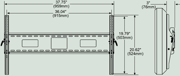 Dimensional Diagram for Peerless ST670 Universal Flat Wall Mounts ST 670
