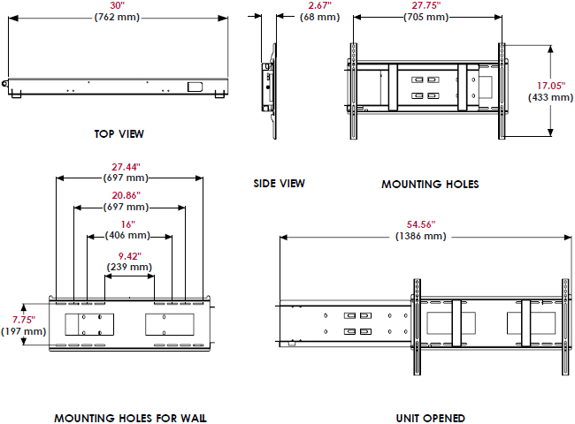 Technical Drawing for Peerless DMU50SM Slide Out Wall Mount with Media Player Storage