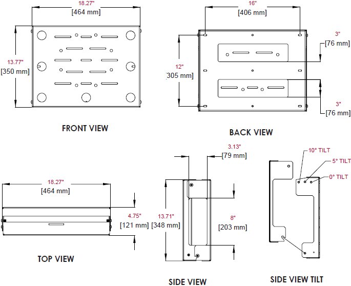 Technical Drawing for Peerless DS508 Flat/Tilt Wall Mount with Media Storage