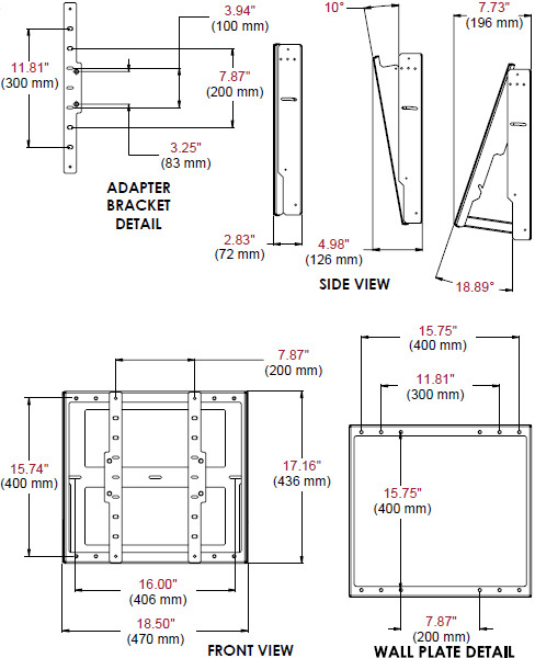 Technical Drawing for Peerless DST660 Flat/Tilt Wall Mount with Media Device Storage