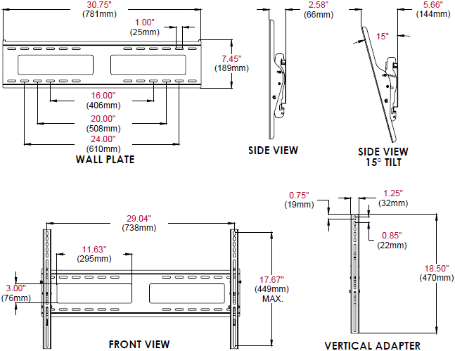 Technical Drawing for Peerless EPT650 Outdoor Tilt Wall Mount