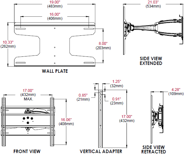 Technical Drawing for Peerless ESA746PU or ESA746PU-S Corrosion Resistant Articulating Wall Mount