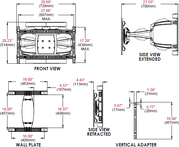 Technical Drawing for Peerless ESA763PU Corrosion Resistant Articulating Wall Mount
