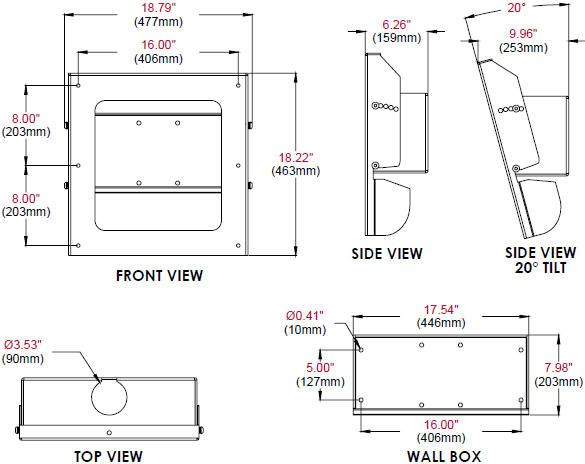 Technical Drawing for Peerless FPEWM Indoor/Outdoor Tilting Wall Mount