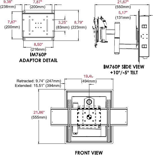 "Technical drawing for Peerless IM760P or IM760P-S In-Wall Mount for 32""-71"" Displays"