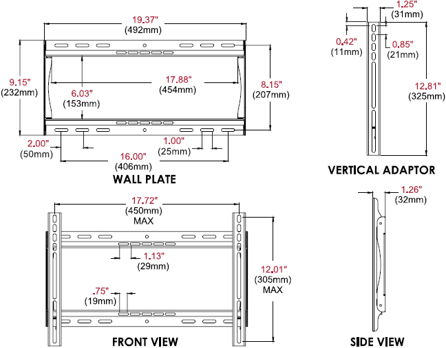 Technical drawing for Peerless PF640 Paramount Universal Flat Wall Mount