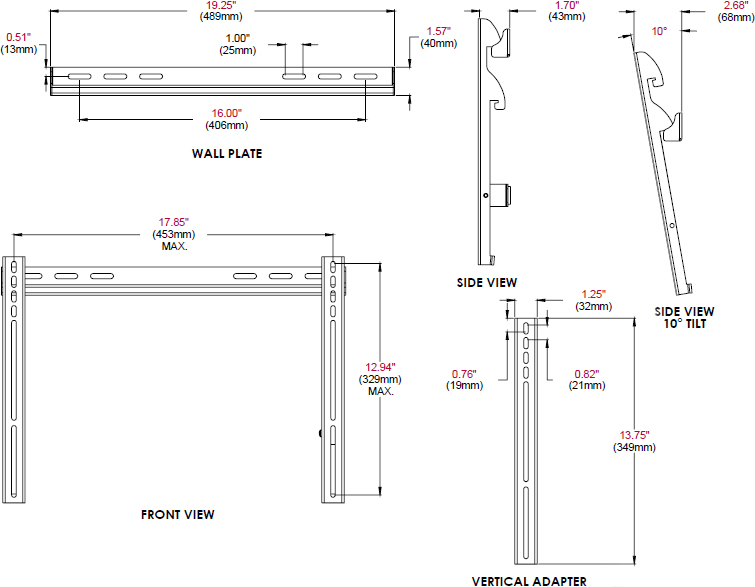 "Technical drawing for Peerless PFT640 Universal Fixed Tilt Wall Mount for 23""-46"" Displays"