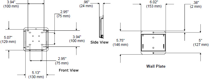 Technical Drawing fro Peerless SF630-A Antimicrobial Flat Wall Mount