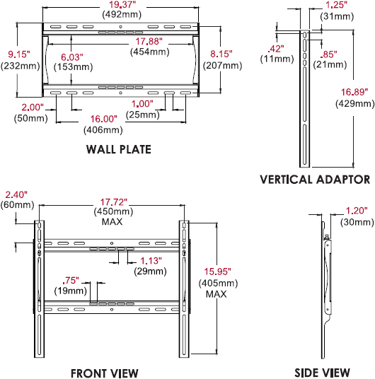 Technical drawing for peerless SF640 SmartMount Universal Flat Wall Mount