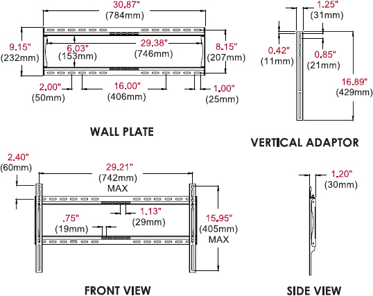 Technical drawing for Peerless SF650 or SF650P SmartMount Universal Flat Wall Mount