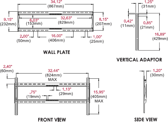 Technical drawing for Peerless SF660 or SF660P SmartMount Universal Flat Wall Mount