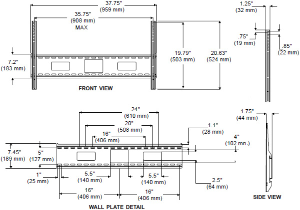 Technical Drawing for Peerless SF670-A Antimicrobial Flat Wall Mount