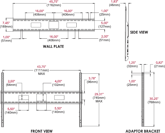 Technical drawing for Peerless SF680 or SF680P SmartMount Universal Flat Wall Mount
