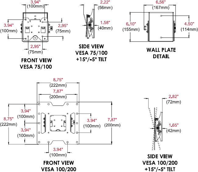 Technical drawing for Peerless ST632 or ST632P SmartMount Tilt Wall Mount