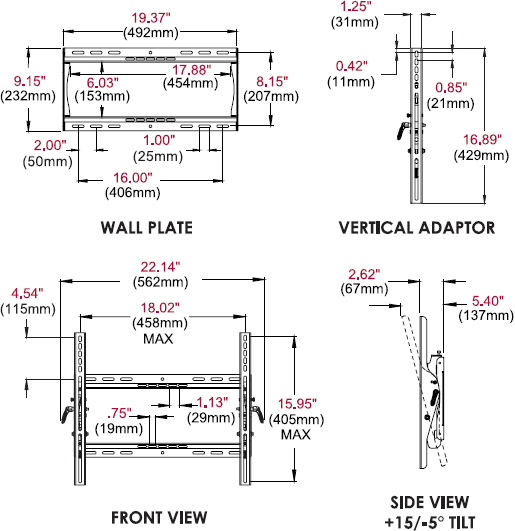 Technical drawing for Peerless ST640 or ST640P SmartMount Universal Tilt Wall Mount