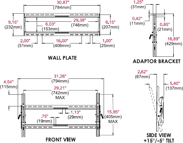 Technical drawing for Peerless ST650 or ST650P SmartMount Universal Tilt Wall Mount