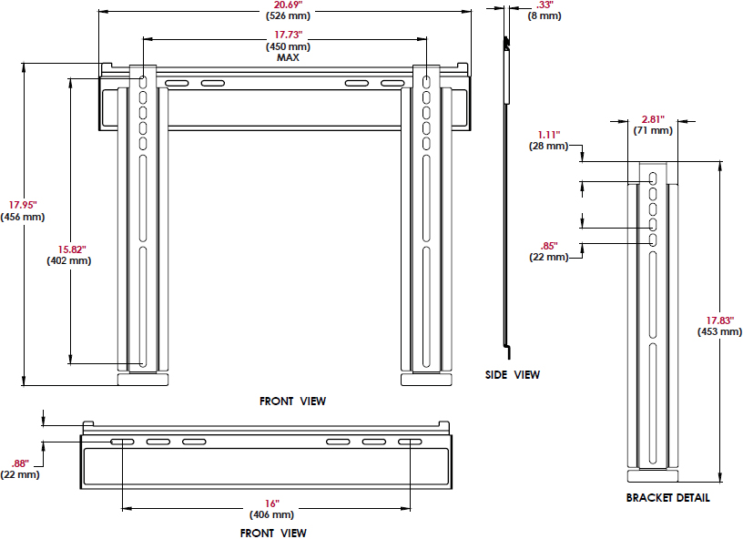 Technical drawing for Peerless SUF640P Universal Ultra Slim Flat Wall Mount